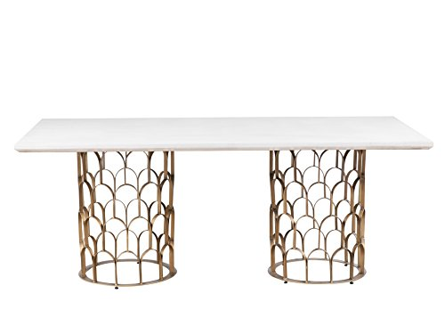 Art Deco Brass Table - Tov Furniture TOV-D7068 the Gatsby Collection Art Deco Dining Table with Brass Base, Concrete