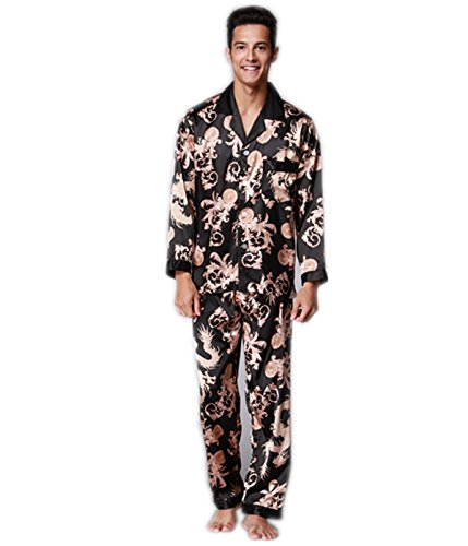 Shirt Silk Dragon (VERNASSA Men's Long Sleeves Chinese Dragon and Phoenix Pattern Sleepwear Silk Satin Pajama Set Pajama Shirt and Pant Satin Loungewear,Black,Tag size XXL=US size XL)