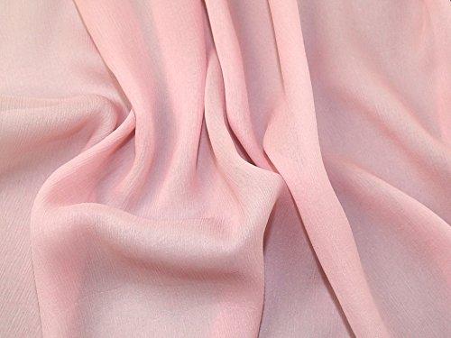Minerva Crafts 100% Silk Crinkle Chiffon Dress Fabric Baby Pink - per metre