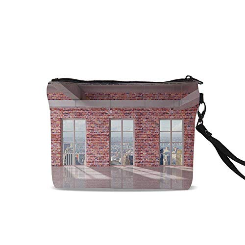 - Modern Decor Travel Toiletry Bag,Red Brick Wall Loft Interior with Windows to City Urban Contemporary Design For Women Girl,9