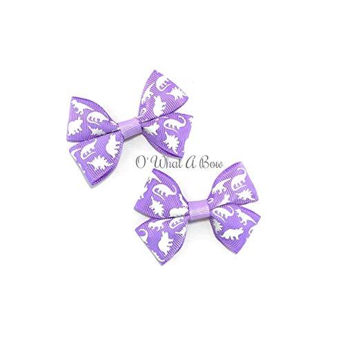 Glow in the Dark Purple Dinosaur Hair Bows set of 2