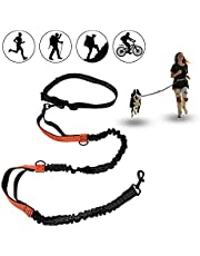 Running Dog Leash Hands Free, Retractable Waist Leash for Large Dogs 110lbs 5ft-8ft, with Dual Bungees for Puppy Small Medium Dogs, Adjustable Waist Belt Reflective Stitching Leash for Walking Hiking Jogging Biking