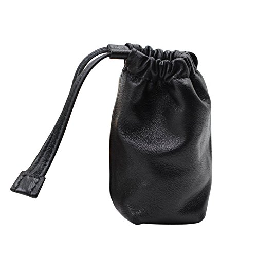 Black Fancy High-end Quality Lambskin Organizer for Cables Flash Disks Earphones Power Banks Holder Case Bag with Drawstring