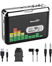 USB Cassette to MP3 Converter, BlumWay Portable Tape Cassette Player to MP3 Format, Audio Music Cassette Tape to Digital Converter with Earphone, Walkman Type, No Need Computer