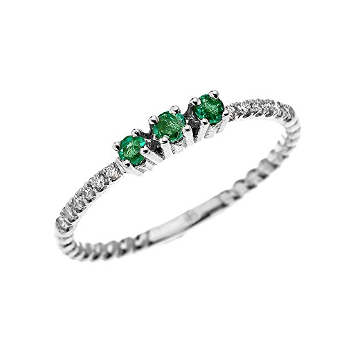10k White Gold Three Stone Round Emerald and Diamond Dainty Rope Design Ring (Size 6)