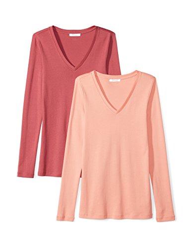 Daily Ritual Women's Midweight 100% Supima Cotton Rib Knit Long-Sleeve V-Neck T-Shirt, 2-Pack, M, Cardinal Red/Peach