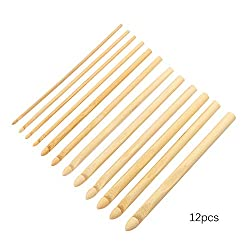 12 pcs DIY Bamboo Knitting Needles, ONEVER Knitting Handle Crochet Hooks Set, Knitting Sweaters Lace Weave Yarn Crafts Household Knitting Tools