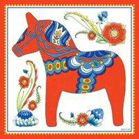 Wall Tile Design Swedish Red Dala Horse