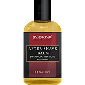Majestic Pure Post Shave Balm with Sandalwood Essential Oil, Moisturizes and Nourishes Skin After Shaving, 4.0 fl oz