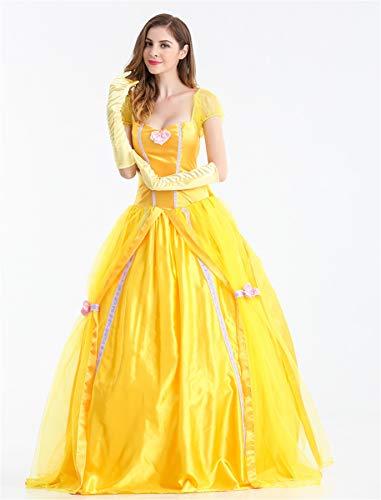 Damen Kleid Kostüm Gold Junggesellinnenabschied Märchen Kleid Prinzessin Lang Damen Outfit Halloween Damen Elegant fdgdq5