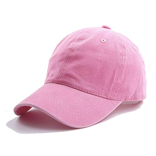 (Eohak Kids Distresed-Washed Baseball Hat, Infant Toddler Baby Boy Cotton Hats Distresed for 4-12 Years (Pink, 4-12yr/19 7