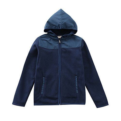 Long Sleeve Polar Fleece Top (MOMOLAND Boys Long Sleeve Hooded Full Zip Polar Fleece Jackets (6 Years, Navy))