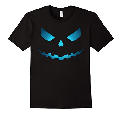 Mens Pumpkin Face Jack O Lantern T-Shirt Medium Black