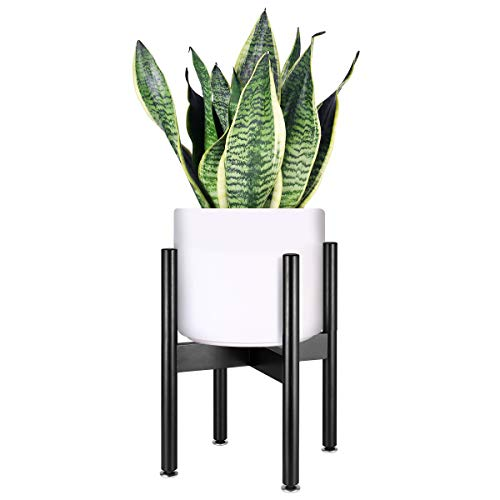 HOMEMAXS Plant Stand Mid Century Wood Flower Pot Holder Indoor, Modern Display Potted Rack Home Decor, Black, Up to 10 Inch Planter (Planter Not Included) ()