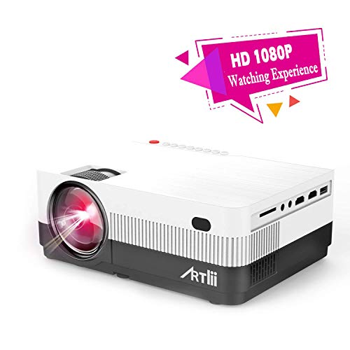 Portable Projector - Artlii HD Movie Projector with Zoom, 1080P Support ,180 Inch Home Theater Projector with HiFi Stereo, HDMI, Compatible w/ Chromecast TV Nintendo ()