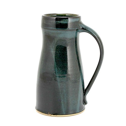 Beer Mug Pottery (32oz Pottery Beer Mug Tankard with Night Sky Blue Glaze)