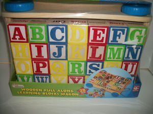 (Wooden Pull Along Learning Blocks Wagon by First Learning)