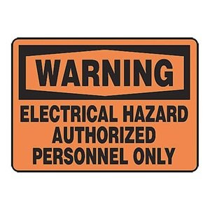 Adhesive Vinyl MELC306VS Authorized Personnel Only Safety Sign 10 x 14 Inches AccuformWarning Electrical Hazard