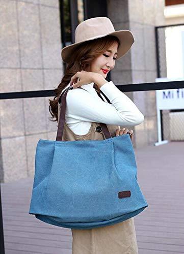 diseño li Shu de marrón única Bolso de Talla Mano Bolso de Mujer para azul Lona YrqHRrd