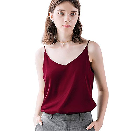 Bighand Cat Sexy Women's Silk Tank Top Ladies Camisole Silky Loose Sleeveless Blouse Tank Shirt with Soft Satin (WineRed, Size XS(Tag Size Asia L)) ()