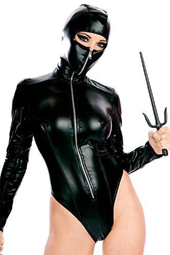 Nuevas señoras negro aspecto mojado cremallera en la parte frontal manga larga máscara Teddy Bodysuit lencería trikini leotardo Teddies Pole Dance tamaño M UK 10–�?2EU 38–�?0