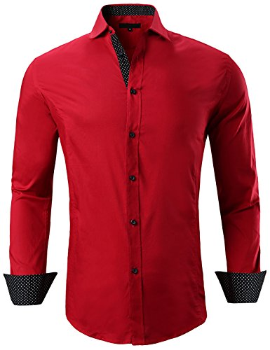 XTAPAN Men's Long Sleeve Casual Slim Fit Inner Contrast Button Down Dress Shirt Red US L 8888