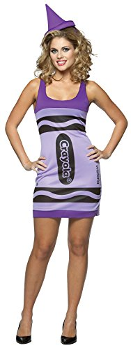 [UHC Women's Crayola Crayon Tank Dress Wisteria Comical Fancy Costume, One Size (4-10)] (Crayola Wisteria Crayon Costumes)