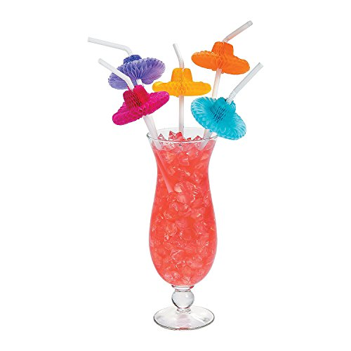 [48 Mexican Flexible Tissue Sombrero Hat Straws- Fiesta/Cinco de Mayo Party Decor] (Drinking Hats With Straws)