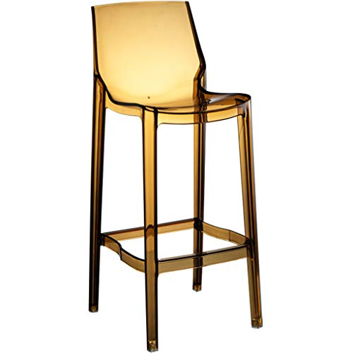 Czlsd Transparent Ghost Chair Crystal Chair Home Breakfast Cosmetics Chair Bar Stool Chic Dressing Room Bedroom Cafeteria Chair (Color : Yellow, Size : 75cm) (Ghost Yellow Chair)