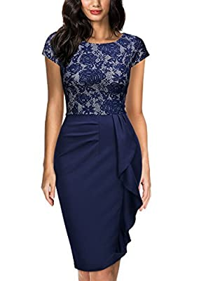 Miusol Women's Floral Lace Ruffle Slim Cocktail Party Dress