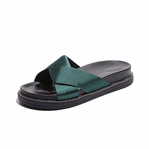 YUCH Zapatillas De Mujer Talón Antideslizante Sandalias Planas Diarias Green