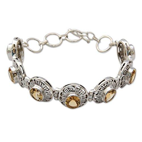 NOVICA Citrine .925 Sterling Silver Link Bracelet, 7