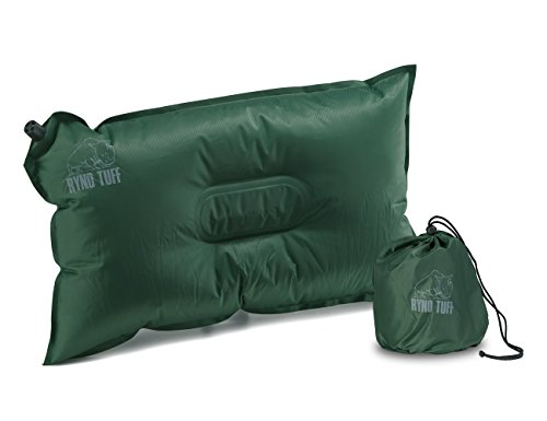 Ryno Tuff Self-Inflating Camping Pillow - Portable, Durable, and Inflatable Travel Pillow Provides Comfort and Insulation While Camping, Backpacking, Thru Hiking, and Traveling. Carry Bag Included