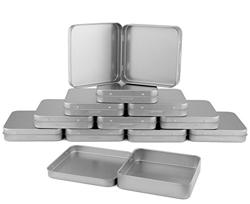 Large Square Metal Hinged Tins (12-Pack); 3.5 x 3.5 x .75 Inches, Silver Boxes for Mints, Candies, Favors, Game Pieces, Geocaching & More -