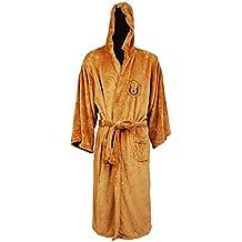 Dahee Mens Cosplay Costume Knight Brown Robe Coral Fleece Embroidered Bath Robe Black Pajamas