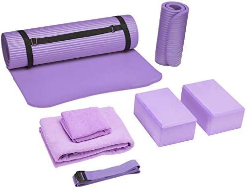 BalanceFrom PassYoga 7-Piece Set - Include Yoga Mat with Carrying Strap, 2 Yoga Blocks, Yoga Mat Towel, Yoga Hand Towel, Yoga Strap and Yoga Knee Pad