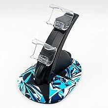 Mcbazel Controlador del soporte del cargador, soporte de carga USB para PS4 / Slim / Pro - Azul Negro