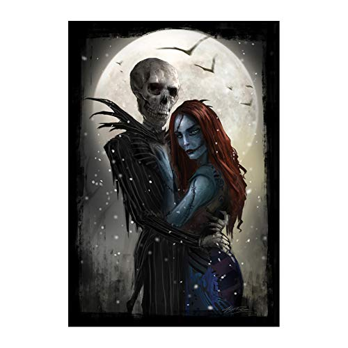 Jack and Sally Meant to Be Nightmare Before Christmas Poster Guitar Black White Print Wall Decor 24x36 Inches Photo Paper Material Unframed (Nightmare Before Christmas Jack And Sally Wallpaper)