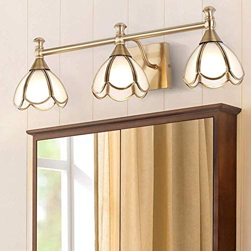 HIZLJJ つや消しニッケル仕上げとガラスシェードリビングルームのベッドルームの壁灯器具屋内照明付き3ライト現代バニティ/バスルームライト