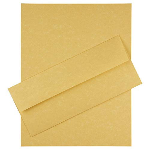JAM PAPER #10 Business Stationery Set - 4 1/8 x 9 1/2 Envelopes & Matching Letter Paper - Antique Gold Parchment Recycled - 100/Pack ()