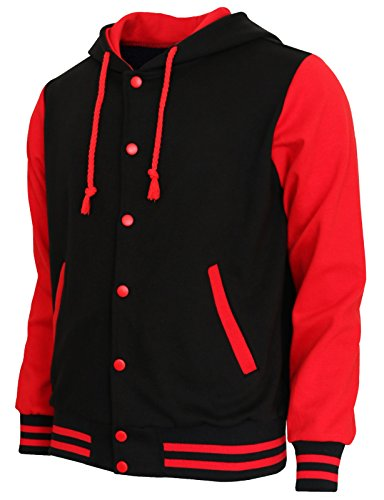 (BCPOLO Hoodie Baseball Jacket Varsity Baseball Jacket Cotton Letterman Jacket Black-Red-XL)