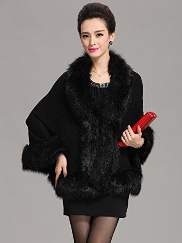 Caracilia Women Bridal Faux Fur Shawl Wraps Cloak Coat Sweater, Black3, One Size