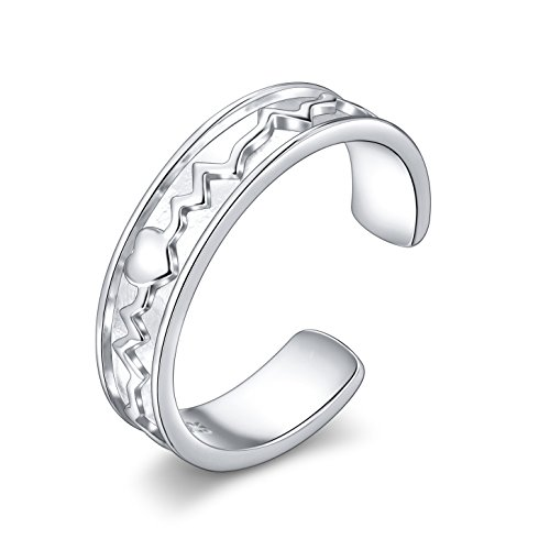Heartbeat Ring 925 Sterling Silver EKG Heart Charm Adjustable Gift for Women Girls, Size 7