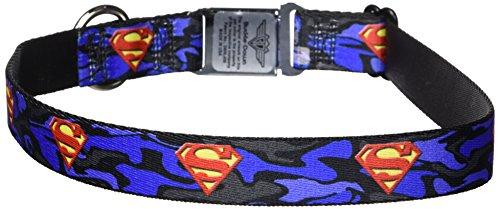 "Buckle-Down Seatbelt Buckle Dog Collar - Superman Shield Camo Blue - 1"" Wide - Fits 15-26"" Neck - Large"