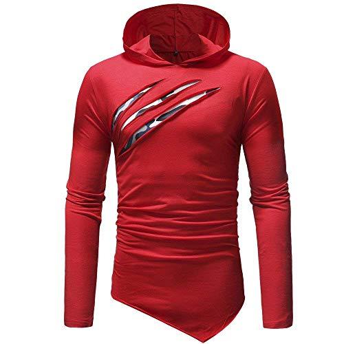 Blanc Trou Capuche Zhrui Hiver Mode Loisirs 2018 Rouge Taille Chandail Couleur Style À Automne M Jumper Hommes Sweat E6rw06qz