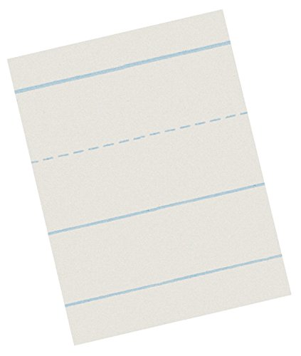 School Smart Picture Story Skip A Line Paper - 1 inch Ruling - 18 x 12 inches - Pack of 500 - White