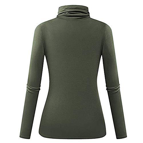 Roulé Armée Verte Pullover Mode Feixiang ❤ T Shirt Chaud Tops Simple Unie Femme Slim Manches Chic Hiver Casual Blouse Couleur Longues Col Basique 8wBq1w