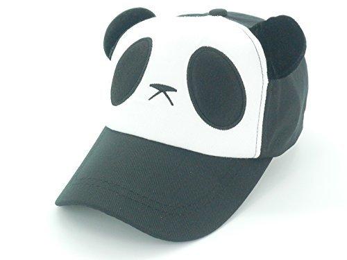 Oidon Panda Pattern Cartoon Cotton Baseball Hats Caps (Child 49-56cm 19.3-22.0inch, Black) -