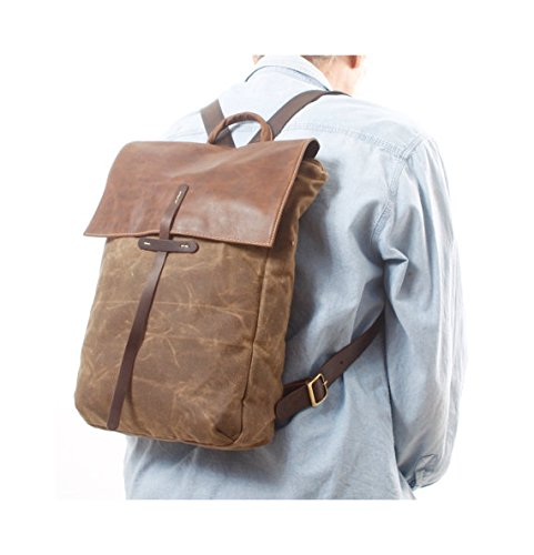 Handmade Brown Canvas and Leather Unisex Backpack, Large 15'' Laptop Rucksack by Ruth Kraus