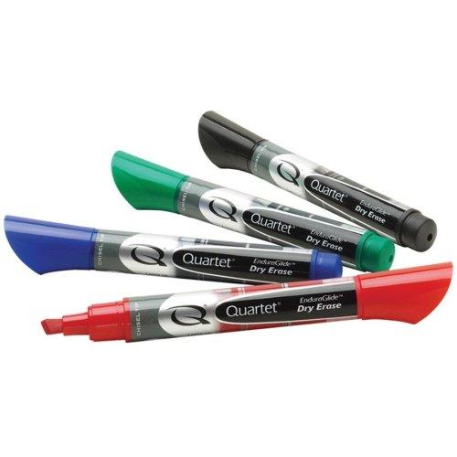 Quartet EnduraGlide Dry Erase Marker - Chisel Marker Point Style - Red, Green, Black, Blue Ink - 4 / Set
